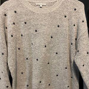Women's crew neck sweater-Gray w black stars 🌟